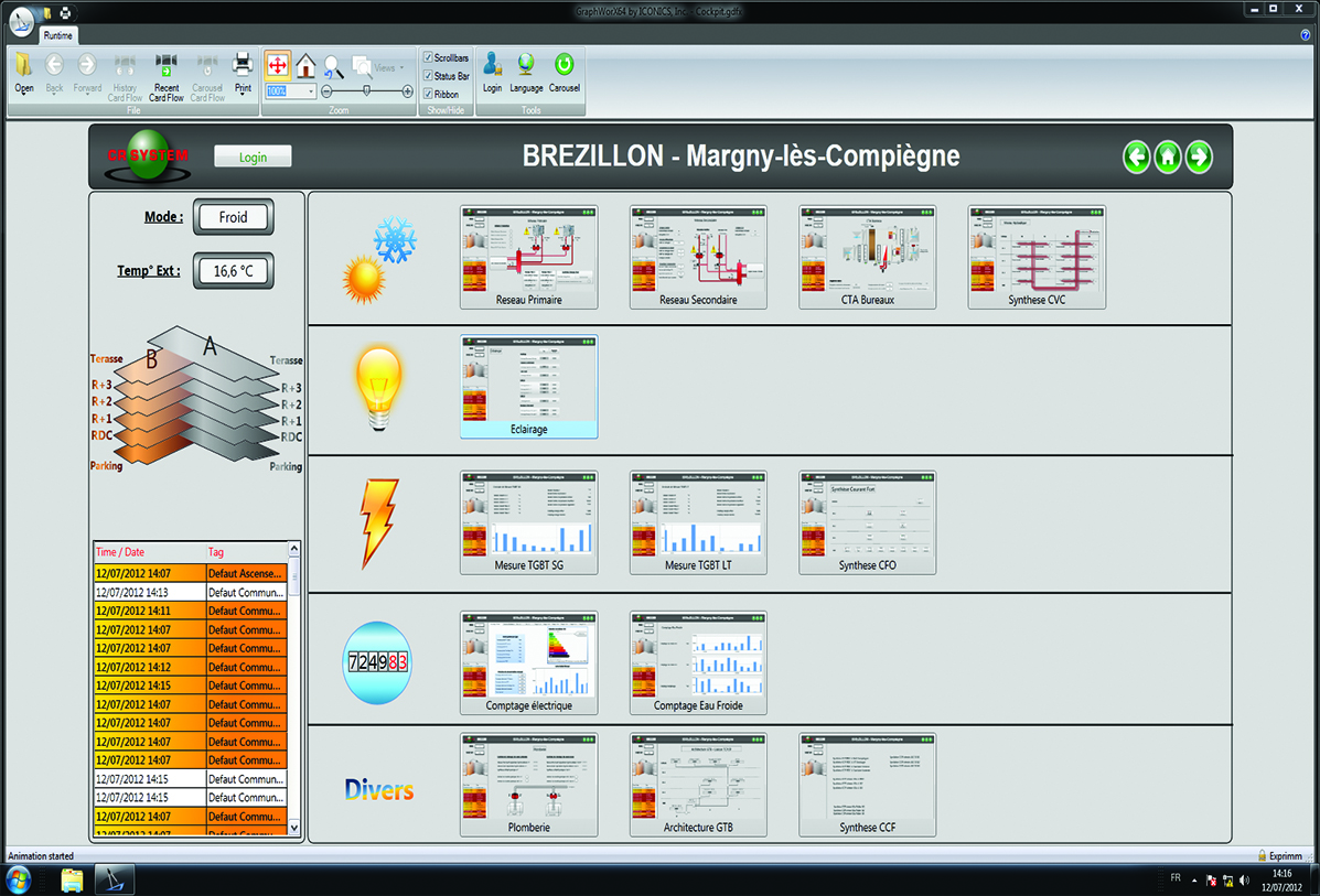 A Brézillon Building Control Screen Created with GENESIS64™