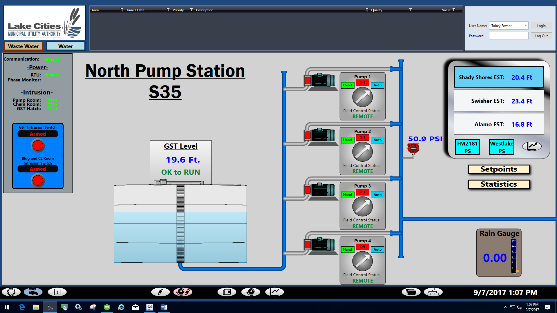 LCMUA Pump Station Monitoring and Control Display